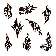 vector set of abstract silhouette tattoo