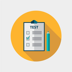 vector test flat design icon isolated, education