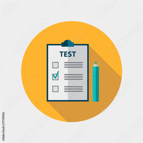 vector test flat design icon isolated, education - 77761436