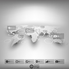World map in perspective, blurred infographic vector template