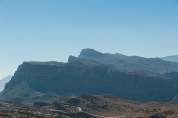 View of a valley next to Jebel Shams mountain, Oman