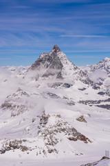 Matterhorn during winter with clouds, Switzerland