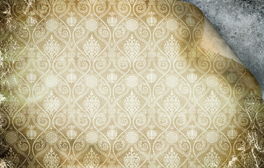 Grunge paper background with decorative patterns.