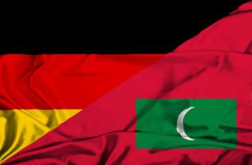 Waving flag of Maldives and Germany