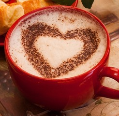 Cappuccino with heart pattern