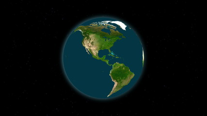 Planet earth rotating in space