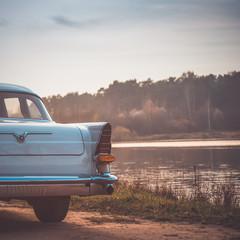 Old retro or vintage car back side. Vintage effect processing