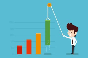businessman growing financial chart