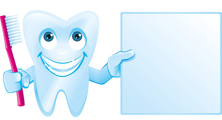 Zahn hält Zahnbürste und leeres Schild