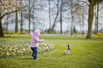 Baby girl portrait in spring flower park