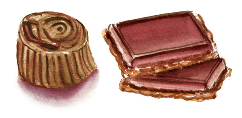 Watercolour chocolate bonbon and cookie on white background