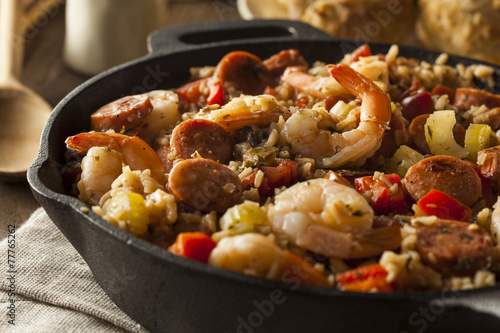 Spicy Homemade Cajun Jambalaya - 77765262