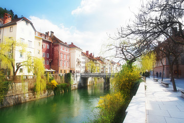 The Cobblers' Bridge, Ljubljana, the capitol of Slovenia, Europe
