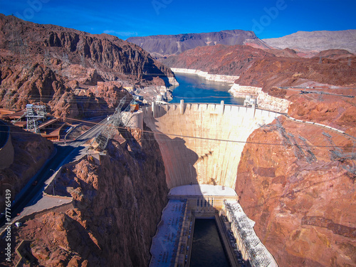 Hoover Dam across the Border of Nevada and Arizona, USA