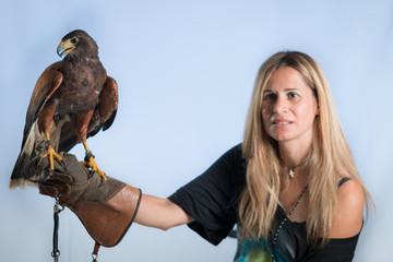 Woman and buzzard
