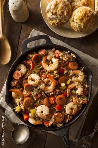 Staande foto Schaaldieren Spicy Homemade Cajun Jambalaya