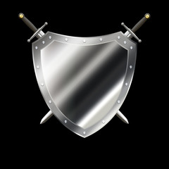 Ancient silver shield with two swords.
