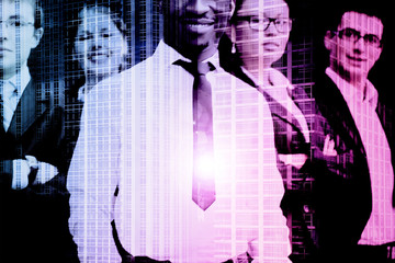 Business people and the city. Double exposure concept.