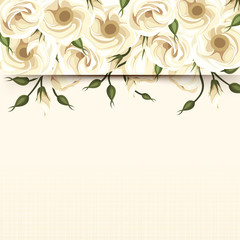 Card with white lisianthus flowers. Vector eps-10.