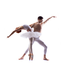 Couple of ballet dancers isolated on white