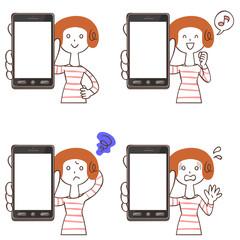 スマートフォンを持つ女性のセット