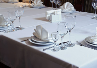 Elegantly decorated table in the restaurant
