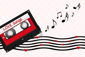 Illustration mit Liebeslied Nachricht auf Cassette Tape