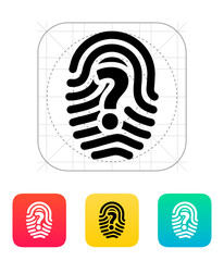 Question mark sign thumbprint icon.