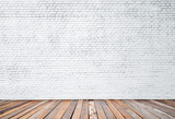 Fototapety white brick wall and wood floor