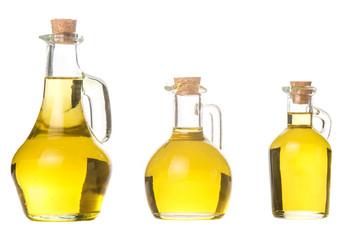 Extra virgin olive oil three glass jars isolated