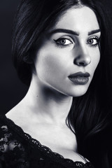 black and white portrait of a beautiful female brunette