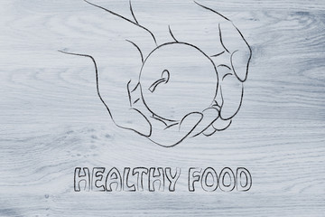 hand holding apple with measuring tape, concept of healthy life