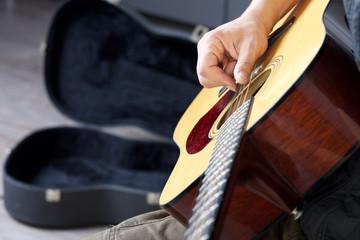 acoustic guitar close up