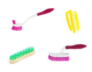 Clean brush on white background, set 4