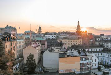 Stockholm aerial skyline at dusk