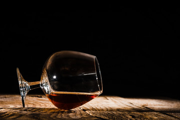Alcohol in large round glass, Whisky, Brandy, Cognac