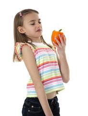 Little Girl Holding Vegetable
