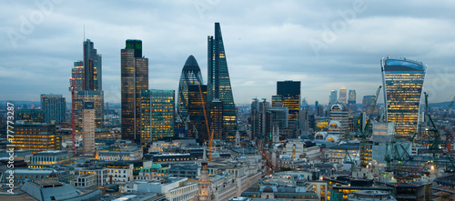 London LONDON, UK - JANUARY 27, 2015: City of London night view
