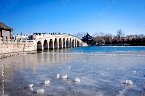 Foto op Canvas Gletsjers Frozen lake with dry leaf in winter season, Summer Palace, Beiji