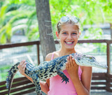 Girl with crocodile.
