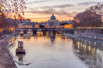 Vatican City and Tevere River in Rome at Dusk