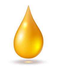 Yellow drop isolated on white, vector icons