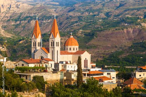 Foto op Canvas Bedehuis Beautiful church in Bsharri, Qadisha valley, Lebanon