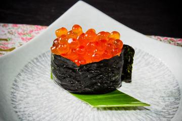 いくらの軍艦巻き寿司  Sushi which is how much japanese food