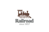 Vintage Retro Railroad Train Locomotive Logo design vector