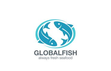 Fish Logo design vector. Infinity Fishing concept Seafood