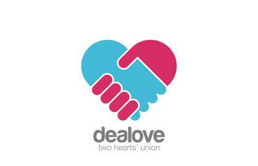 Logo Handshake Heart shape design. Hand Holding
