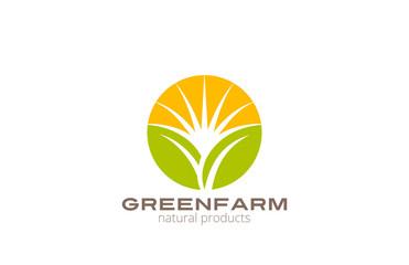 Sun over Abstract Plant Logo Farm design circle template