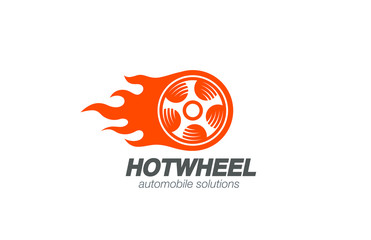 Wheel in Fire flame Logo design vector. Car Logotype