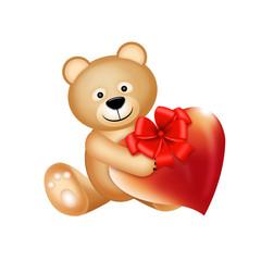 игрушечный мишка с сердцем и бантом